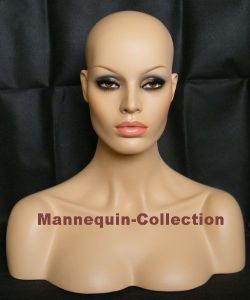 Realistic Mannequin Head & Bust with Glass Eyes for Lace Wig Display (YZ-101)