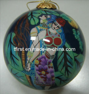 Glass Christmas Ball with Inside Painting