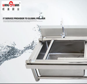 European Style Stainless Steel Sink with Undershelf and 3 Bowl pictures & photos