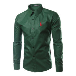 Custom Long Sleeve Army Green Embroidered Dress Shirt (A431) pictures & photos