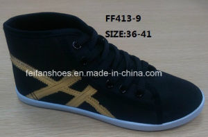 Women Casual Shoes Injection Sport Shoes Canvas Shoes Comfort Shoes (FF413-9) pictures & photos