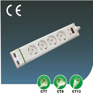 Four Ways European Surge-Proof Extension Socket with USB