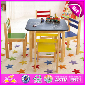 2015 Colorful Wooden Table and Chair for Kids, Children Study Table and Chair, Rounded Corner Study Blackboard Play Table Wo8g141 pictures & photos
