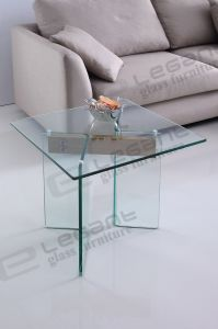 China 60X60 Small Square Bent Glass Coffee Table with Panel