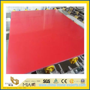 Polished Pure Red Artificial Quartz Slabs for Kitchen Countertops (YQC) pictures & photos