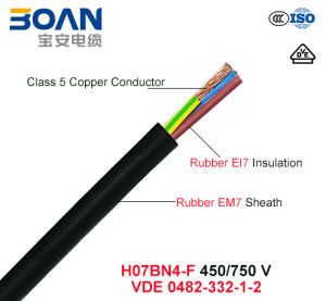 H07bn4-F, 450/750 V, Flexible Rubber Cable (VDE 0482-332-1-2) pictures & photos