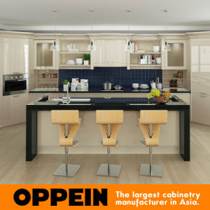 Oppein Modern Light Yellow High Gloss Lacquer Kitchen Cabinets (OP16-L12) pictures & photos