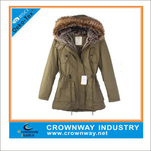 Custom Fur Khaki Parka Jacket for Ladies pictures & photos