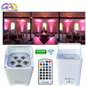 Wireless DMX Uplights DJ Stage Wedding 6pcsx18W RGBWA+UV Aluminium LED Flat PAR Can with Battery Power pictures & photos