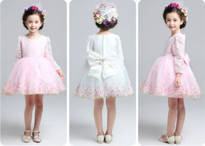 Kd1065 Flower Girl Full Dress Little Princess Dresses Long Sleeve Beautiful Embroidery Tutu Dresses Evening Gowns Dress for Retail pictures & photos
