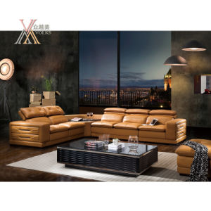 Yellow Leather Sofa with Corner (8233) pictures & photos