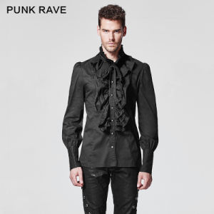Gothic Black Falbala Male Shirt (Y-597) pictures & photos