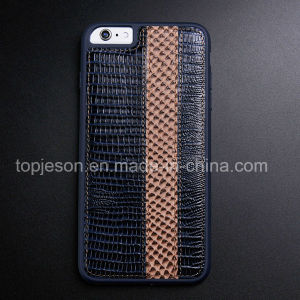 Blue Purple with Brown Genuine Leather Case for iPhone 6 Plus pictures & photos