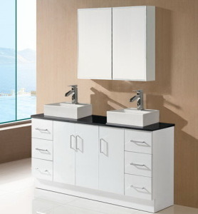 High Glossy White Double Basin Bathroom Cabinet Vanity (SK17-1800W-D) pictures & photos