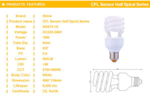 CFL 25W Half Spiral Energy Saving Lamp Light pictures & photos