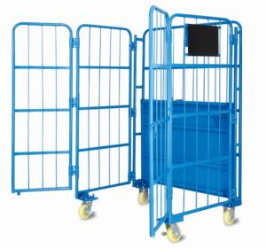 Warehouse Wire Mesh Rolling Metal Storage Roll Cage Trolley Cart with Doors pictures & photos