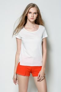 OEM Plus Size High Quality 100% Cotton Ladies T Shirt pictures & photos