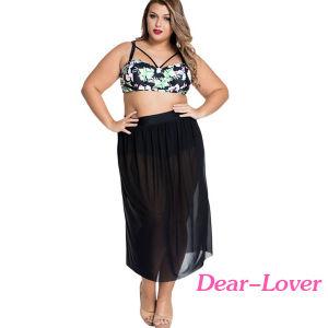 Plus Size Boho Tropical High Waist Bikini with Skirt pictures & photos