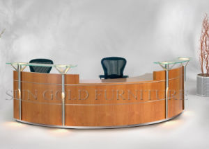 Elegant Reception Table with Glass Top, Solid Wood Surface (SZ-RT046) pictures & photos