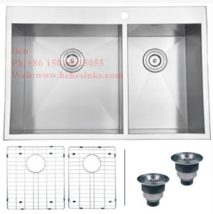 Handmade Kitchen Sink, Stainless Steel Top Mount Equal Double Bowl Handmade Kitchen Sink with Cupc Certification pictures & photos