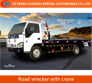 Flatbed Road Wrecker with Crane pictures & photos