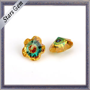 Flower Shape Gold CZ and Blue Glass Mixed Color Gemstone pictures & photos