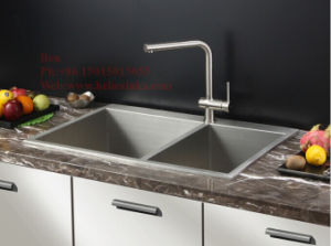 Drop in Handmade Kitchen Sink, Stainless Steel Top Mount Equal Double Bowl Handmade Kitchen Sink pictures & photos