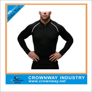 Wholesale Men Gym Sports Workout Compression Shirt with Zipper Front pictures & photos