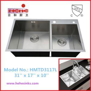 60/40 Topmount Handmade Wash Sink, Handcraft Kitchen Sink (HMTD3117L) pictures & photos