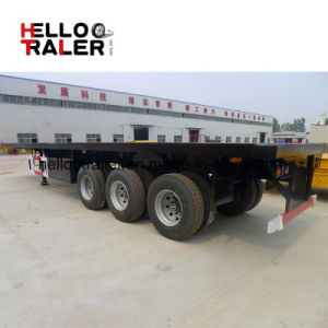 3 Axles BPW Fuwa Brand 40 FT Container Flatbed Semi Trailer pictures & photos