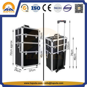 Top Quality Black Aluminium Makeup Trolley Case (HB-3313) pictures & photos
