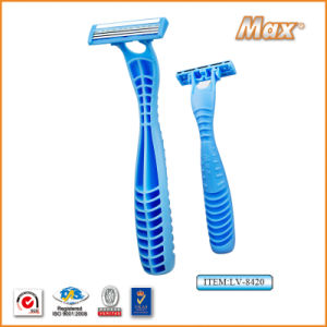 New Triple Stainless Steel Blade Disposable Shaving Razor (LA-8420) pictures & photos