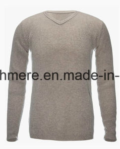 Men V-Neck Basic Style 100% Top Grade Pure Cashmere Sweater pictures & photos