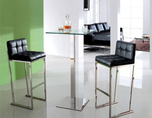 Modern Stainless Steel Square Center Table / Black Glass Table Set with Bar Chairs pictures & photos