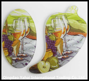 Irregular Shaped Glass Cutting Board with Decal Pattern pictures & photos