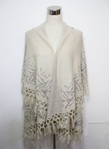 Lady Fashion Acrylic Jacquard Fringe Winter Shawl with Armholes (YKY4485) pictures & photos