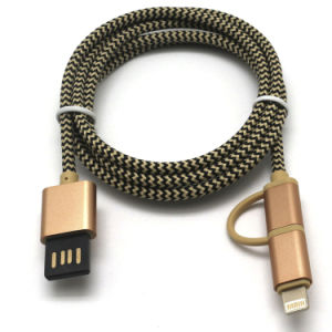 2 in 1 Nylon Braided USB Cable for iPhone/Samsung pictures & photos