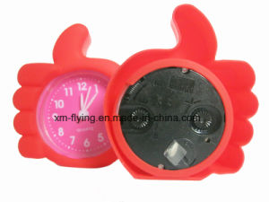Creative Kid′s Cute Finger Shape Candy Color Silicone Mini Table Alarm Clock pictures & photos