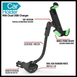 Adjustable Size Car Phone Holder Mount with Two USB Charger pictures & photos