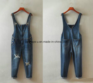 Fashion Sweet Denim Ladies Jeans Overall Women Ripped Pants pictures & photos