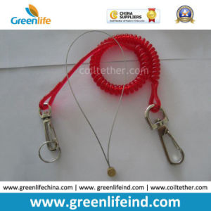 Translucent Red 2.3mm Safety Lanyard Spring Coil Cable