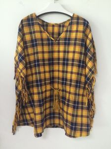 Fashion Tassel Plaid Loose Long Sleeve V Neck Blouse