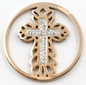 Fashion Interchangeable Cross Coin Plate with White Zirconia pictures & photos