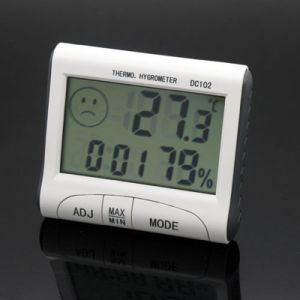 Factory Indoor Electronic Digital LCD Temperature Humidity Thermometer with Time Alarm Clock pictures & photos