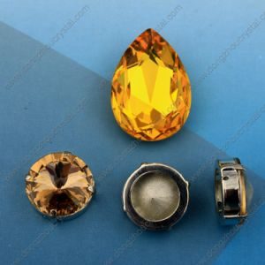 Drop Shape Light Topaz Crystal Fancy Stone for Jewels Dresses pictures & photos