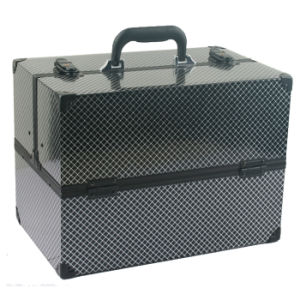 Portable Aluminium Cosmetic Case with Grid Pattern pictures & photos