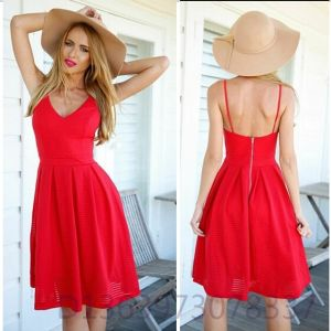 China Sexy Bodycon Bright Red Sundress Evening Women Dress - China ...