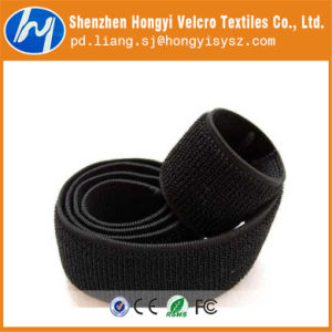 Nylon Adjustable Black Elastic Loop Velcro Tape pictures & photos
