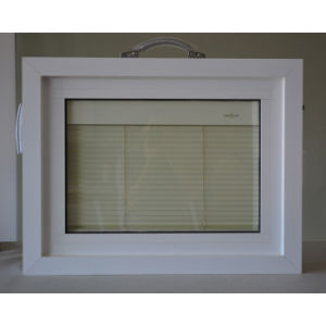 Aluminum Profile Window with Shutter Between Double Glass K12003 pictures & photos