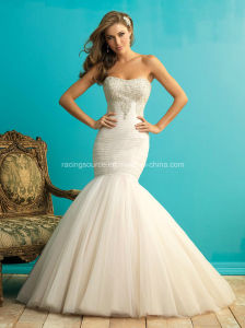 Mermaid Organza Bridal Gown Beading Wedding Dress pictures & photos